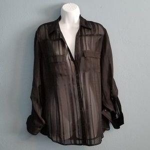 Black Sheer striped button down blouse